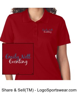 Ladies Embroidered Cool and Dry Mesh Pique Polo NAME on sleeve Design Zoom